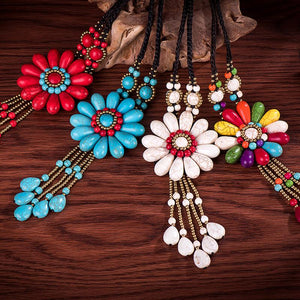 Women Boho Long Natural Stone Tassel Flower Vintage Ethnic Style Statement Necklace