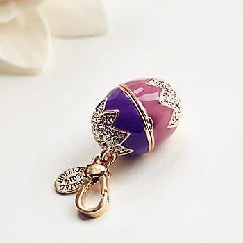 Easter Egg Bunny Charm Women Handbag Zipper Key Chains Moves Pendant For Girl Necklace Jewelry