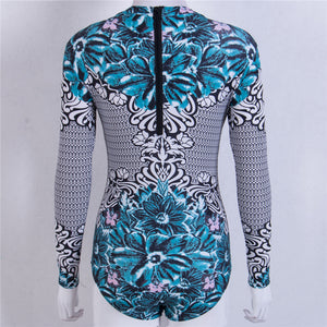 Sexy One Piece Swimwear Long Sleeve Monokini Print Surfing Swimwear
