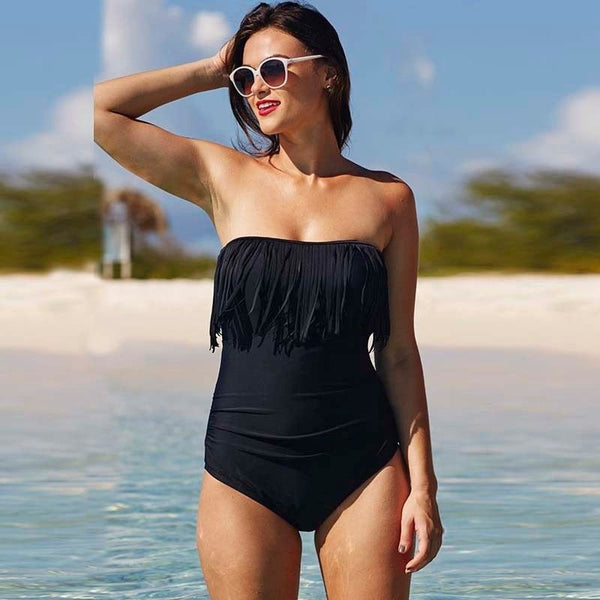 Solid Color Sexy Off-the-shoulder Swimwear One Piece Swimsuit Monokini