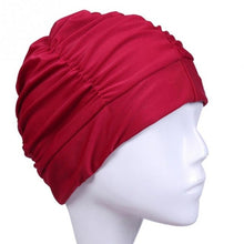 Load image into Gallery viewer, Solid Color Elastic Swimming Hat Summer Beach Bathing Swimcap Ladies Turban Swim Cap