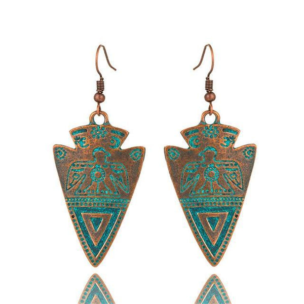 Triangle Totem Bohemian Statement Exaggerated antique Green Earrings