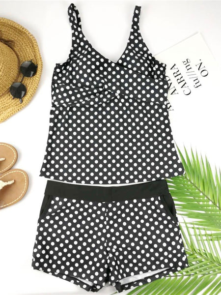 Dots Two Piece Swimsuit Polka Print Swimwear Shorts Tankini Push Up Swimsuit Plus Size Bathing Suit High Waist Beachwear