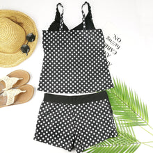 Load image into Gallery viewer, Dots Two Piece Swimsuit Polka Print Swimwear Shorts Tankini Push Up Swimsuit Plus Size Bathing Suit High Waist Beachwear