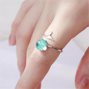 Stylish Design Mermaid Foam Crystal Adjustable Women Plating Finger Ring Jewelry