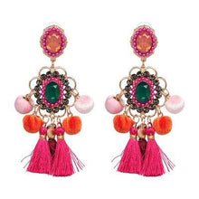 Load image into Gallery viewer, Colorful Drop Hairball Pompom Handmade Tassel Dangle Bohemian Big Earrings