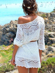White Knit Cover Up Women Summer Sexy Lace Crochet Bikini Beach Dress Tops