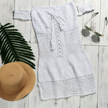 Load image into Gallery viewer, Hollow Solid Color swimsuit cover-up Handmade crochet bikini Tassel ruffle beachwear sexy beach dress