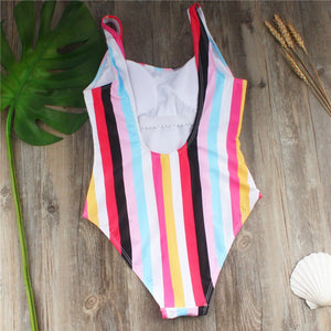 One Piece swimsuit Rainbow Stripe Design