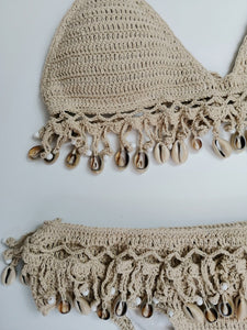 Solid crochet bikini set Shell tassels bikini Brazilian crochet swimsuit women halter swimwear strappy bikinis