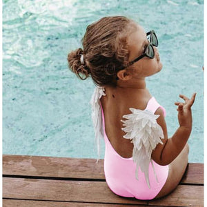 Mom Baby Swimwear One Piece Swimsuit Bodysuit Parent-child Beach Wear Wing Angel Monokini