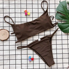 Load image into Gallery viewer, Solid Bikini Set Women V String Swimsuit Push Up Swimwear Bandage Swimwear