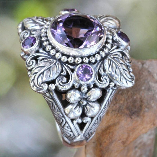 Vintage Boho Flower Purple Crystal Finger Ring Bohemian Jewelry