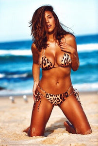 Summer Plus Size 3XL Sexy Micro Bikini Set Women Printing Leopard Bandage Backless Thong Bikinis
