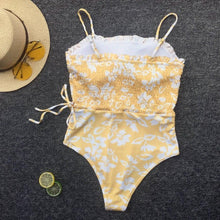 Load image into Gallery viewer, Floral Printed Swimsuit One Piece Swimwear Retro Backless