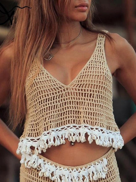 In-X Sexy hollow out beach dress shell cover-ups Crochet cover up Cotton