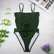 Load image into Gallery viewer, Sexy Swimsuit Women Swimwear One PieceSolid Color Halter Push Up Swimsuit Bandage Bathing Suit