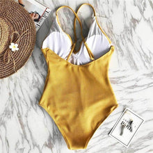 Load image into Gallery viewer, Yellow Solid One-piece Swimsuit Falbala V Neck Ruffle Sexy Monokini