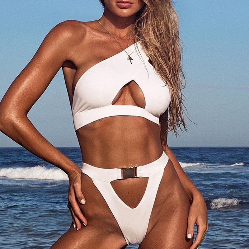 Solid Color One shoulder women swimwear Push up sexy Buckle thong bikini