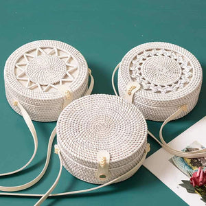 White Round Rattan Women Boho Beach Crossbody Bag Straw Handmade Woven Circle Shoulder Bag
