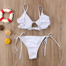 Load image into Gallery viewer, Women Sexy Bikinis Solid Color Bikini Padded Bra Spaghetti Strap High Waist Swimsuit Swimwear