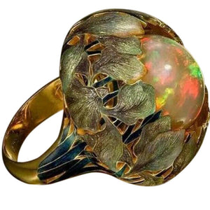 Flower Opal Anel Exaggerated Personality Fabulous Anillos Ring