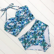 Load image into Gallery viewer, Sexy Floral Print High Waist Swimsuit Bikini Push Up Swimwear Women Vintage 2 Piece Set