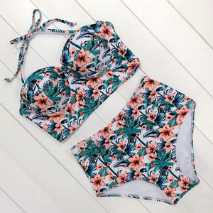 Sexy Floral Print High Waist Swimsuit Bikini Push Up Swimwear Women Vintage 2 Piece Set