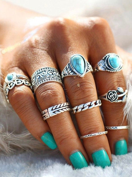 Creative 10PCS Set Simple Vintage Metal Turquoise Geometric Ring