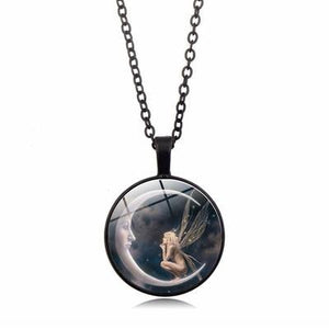 Moon Angel time necklace retro pendant necklace sweater chain ornaments