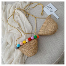 Load image into Gallery viewer, Simple Round Straw Women Summer Rattan Handmade Woven Beach Cross Body Bag