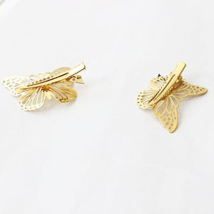 High Quality Fashion Women Hairpins Hollow Gold Color Butterfly Retro Elegant Hair Accessories