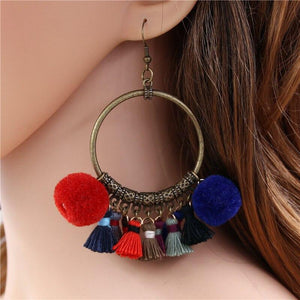 Classic Handmade Vintage Ethnic women fashion BOHO Pompom Tassel earrings Gypsy Chic jewelry