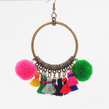 Load image into Gallery viewer, Classic Handmade Vintage Ethnic women fashion BOHO Pompom Tassel earrings Gypsy Chic jewelry
