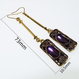 Long Blue Dangle Women Bohemian Jewelry Antique Drop Earrings