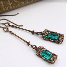 Load image into Gallery viewer, Long Blue Dangle Women Bohemian Jewelry Antique Drop Earrings