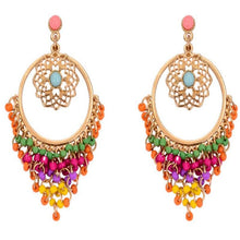 Load image into Gallery viewer, Bohemia Retro Stylish Colorful Carved Hollow Elegant Charm Drop Dangle Long Earrings