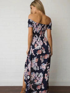 High Waist Floral-Print Off-Shoulder Side Split Bohemia Beach Dress