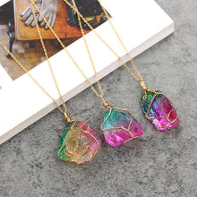 Load image into Gallery viewer, Natural Rough Pendant Transparent Multi-color Chain Necklace