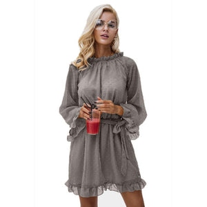 Spring And Summer New Sweet Sexy Long-Sleeved Lace Chiffon Dress Beach Mini Dress