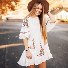 Load image into Gallery viewer, Bohemian Loose Embroidery Hippie Beach Mini Dresses