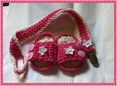 Pink Flower Baby Sandals with Pacifier Clip Baby Set Baby Shower Gift Size Newborn Handmade Crochet