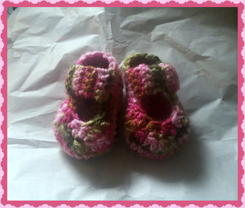 Pink Camo Mary Jane Baby Booties | Baby Girl Baby Shower Gift | 0-3 months 3-6 months | NEW | Made For The Size You Need