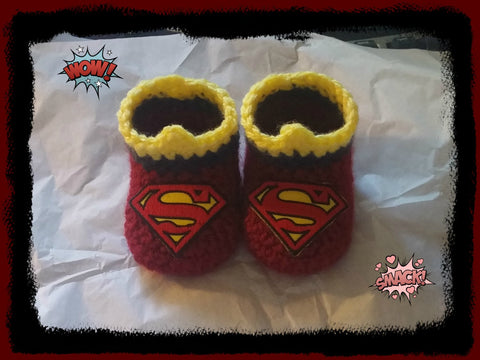 SUPERGIRL Baby Booties | Supergirl Baby Shower Gift | 0-3 months 3-6 months | NEW | HANDMADE to Order