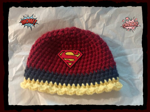 Supergirl Baby Hat Supergirl Baby Shower Gift Baby Toddler or Kids Size Handmade Crochet Made to Order
