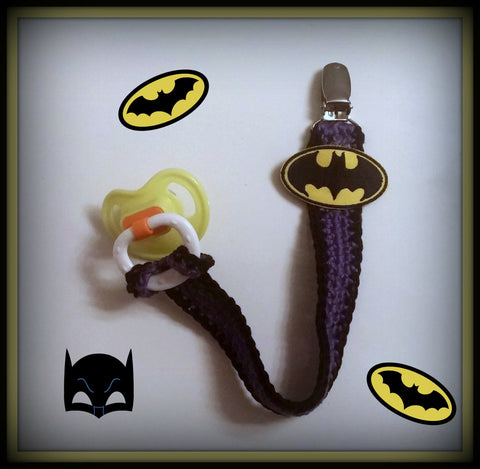 Batgirl Pacifier Clip With Strap | NEW | HANDMADE to Order