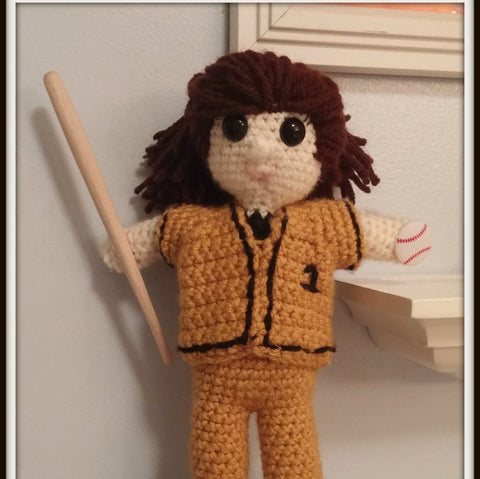 Softball Player Doll Softball Player Gift Approximately 10 inches tall Amigurumi Handmade Crochet Made to Order