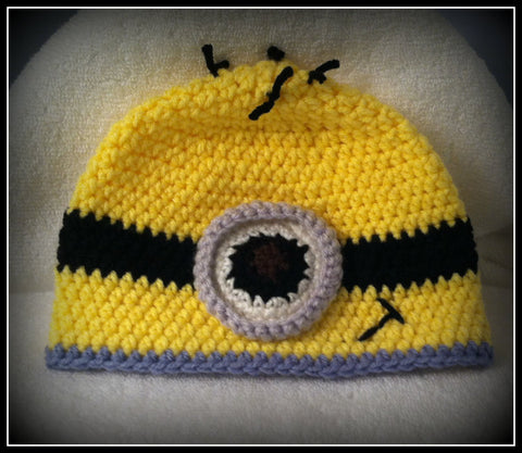 Minion Baby Hat, Minion Baby Shower Gift Baby Toddler or Kids Size Handmade Crochet Made to Order