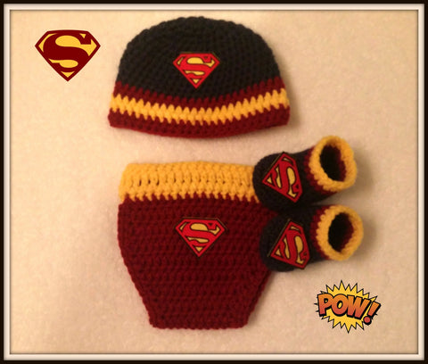 SUPERMAN Baby Photo Prop Costume | Diaper Cover Hat Booties | NEW | Made For The Size You Need