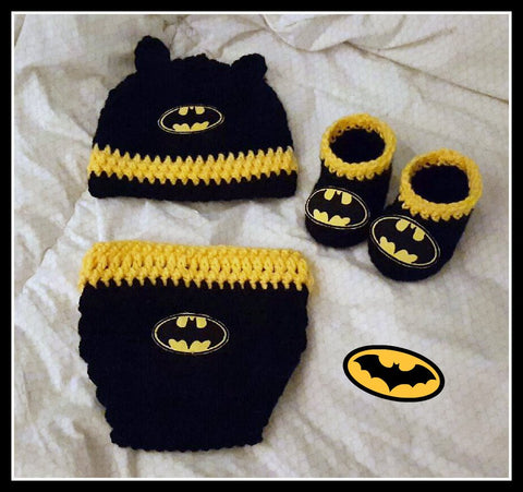 Batman Baby Photo Prop Set With Diaper Cover Hat And Booties Batman Baby Shower Gift Size Newborn Handmade Crochet Made to Order